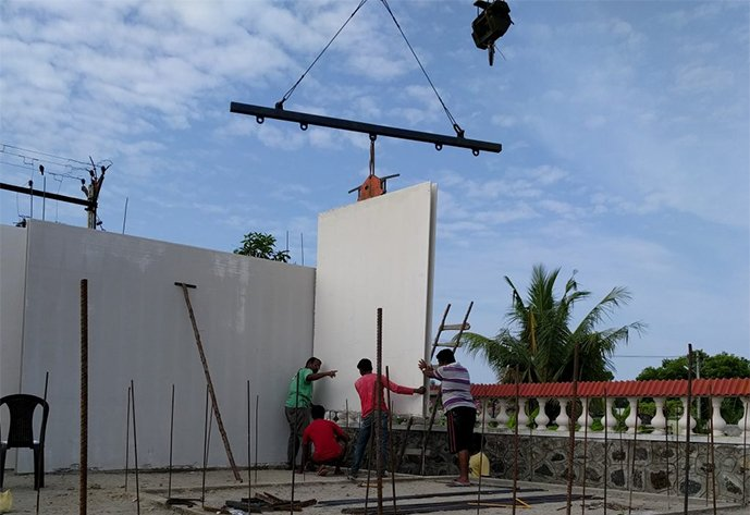 GFRG panel erection