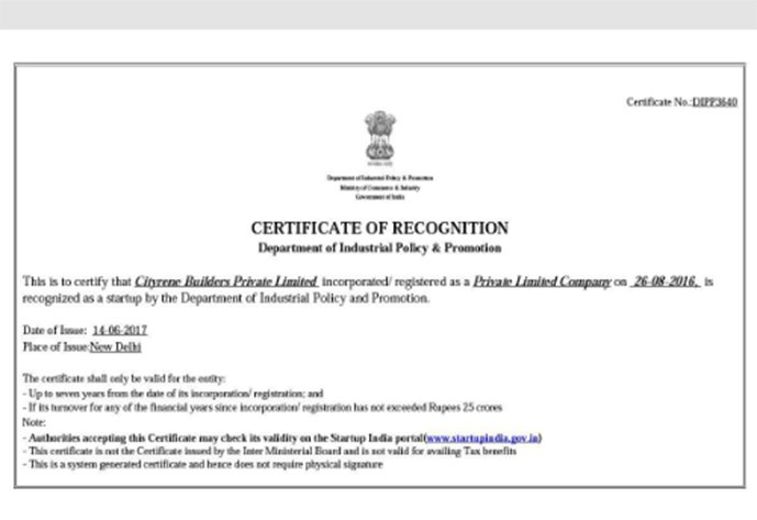 Startup government certification india