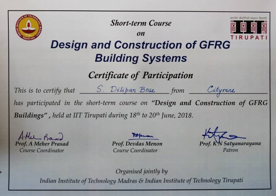GFRG trained builders
